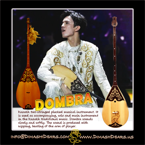Kazakh two-stringed plucked musical instrument. It is used as accompanying, solo and main instrument in the Dimash, Spokane, Kazakh traditional musical instrument..Dombra sounds slowly.
